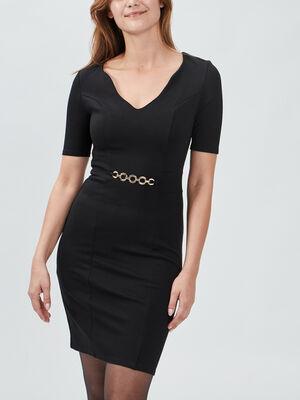 Robe ajustee avec detail bijou noir femme