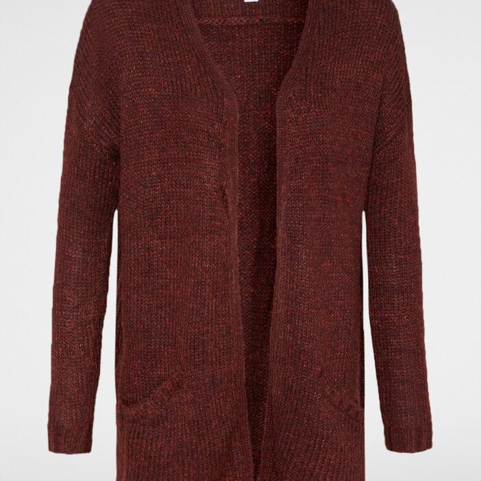 Gilet long style veste femme marron