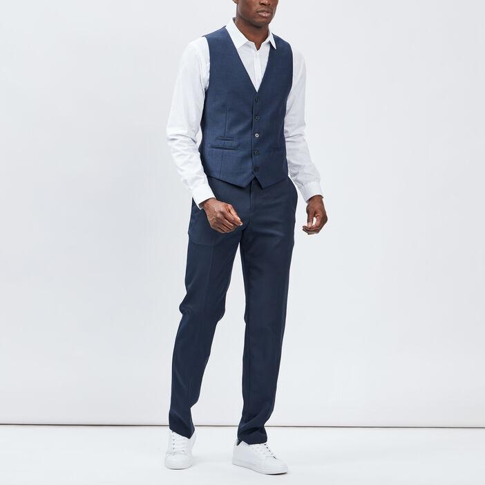 Veston boutonné sans manches homme bleu