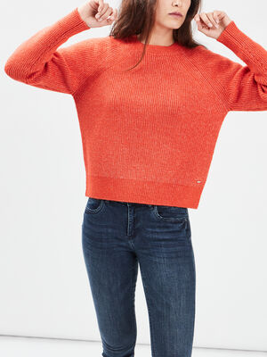 Pull manches longues rouge corail femme