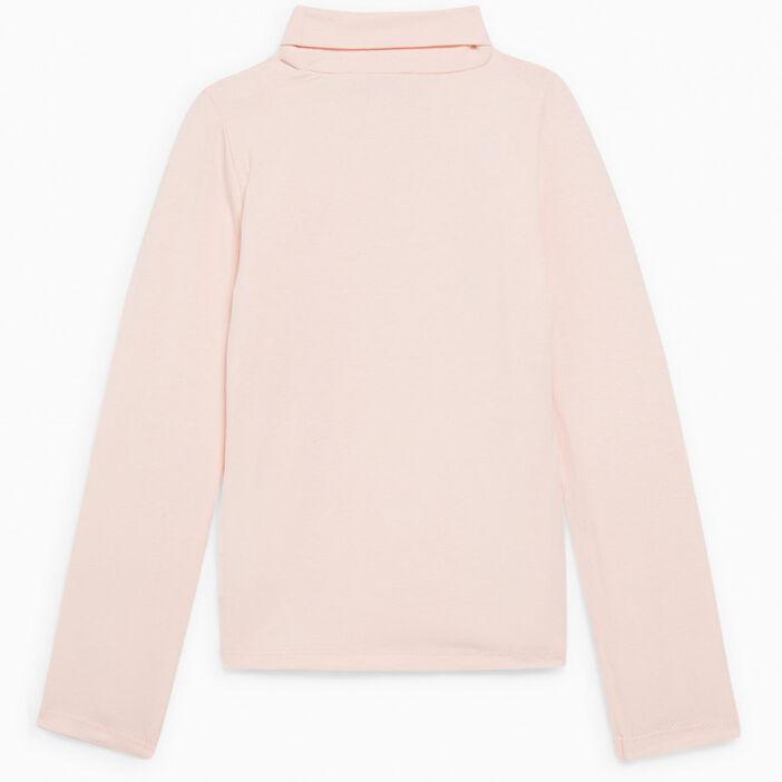 T-shirt col roulé coton majoritaire fille rose clair