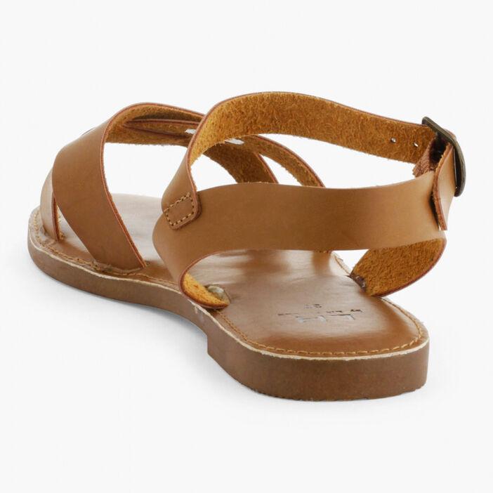 Sandales à lanières unies femme marron