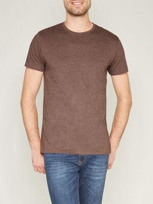 T shirt col rond uni marron homme