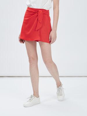 Jupe short droite avec noeud rouge femme