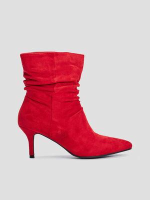 Bottines a talons plissees rouge femme