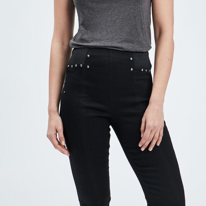 Pantalon ajusté à clous femme noir