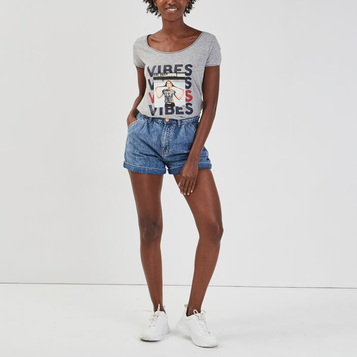 T-shirt manches courtes Creeks femme gris