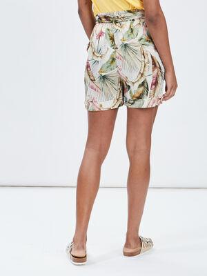 Short droit ceinture rose femme