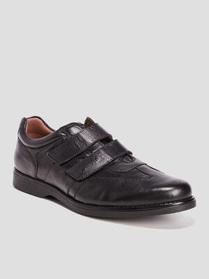 Sneakers en cuir a scratchs noir homme