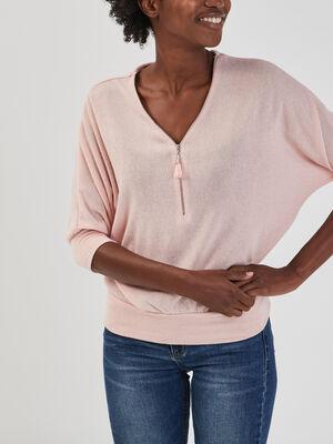 Pull avec col en V zippe rose femme