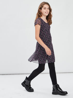 Robe evasee manches courtes multicolore fille