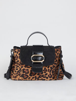 Sac cartable multi matieres leopard multicolore femme