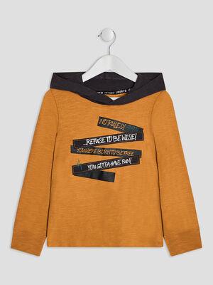 T shirt a capuche Liberto jaune moutarde garcon