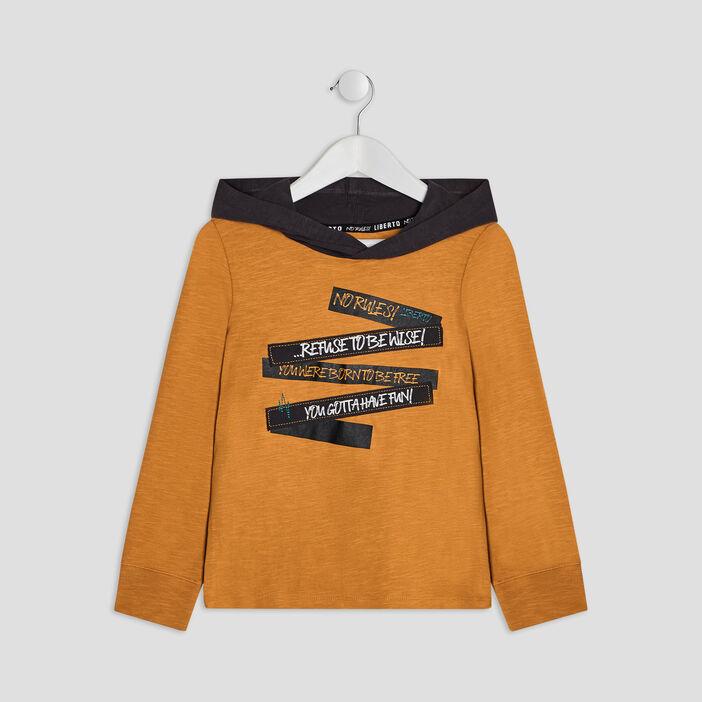 T-shirt à capuche Liberto garçon jaune moutarde