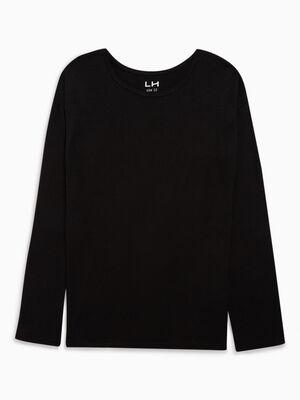 T shirt col rond uni noir fille