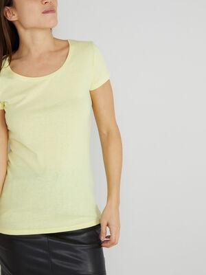 T shirt uni a col rond jaune fluo femme