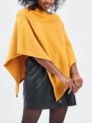 Poncho asymetrique jaune moutarde femme