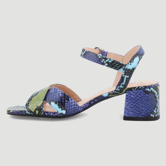 Sandales à talon python multicolore femme multicolore