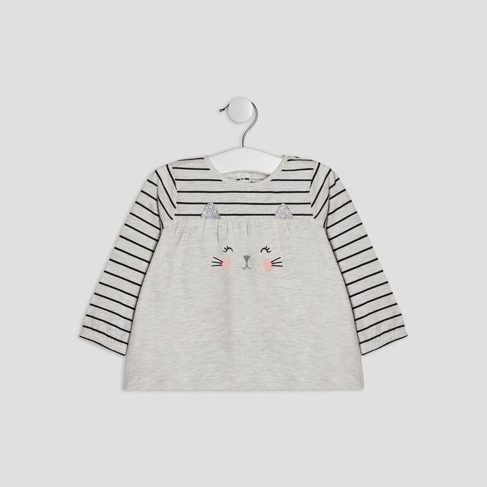 T-shirt manches longues bébé fille gris
