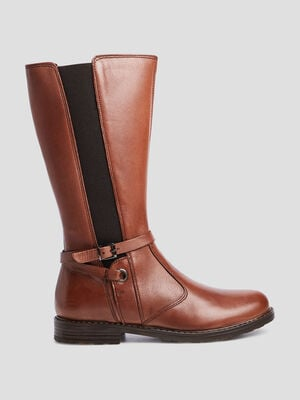 Bottes zippees marron fille