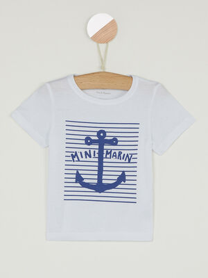 T shirt col rond message devant blanc garcon