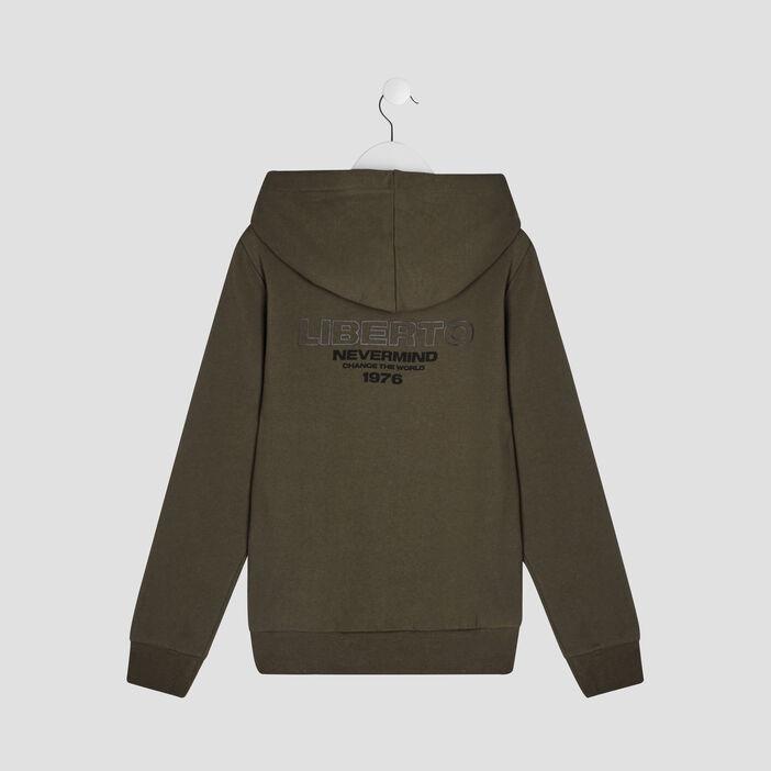 Sweatshirt à capuche Liberto garçon vert kaki