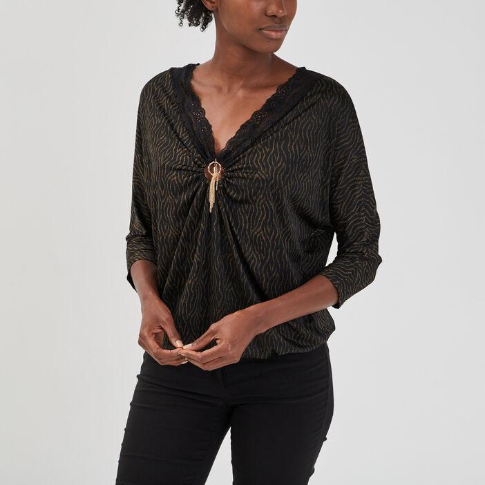 T-shirt manches 3/4 femme multicolore