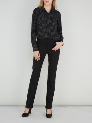 Pantalon droit uni a poches noir femme