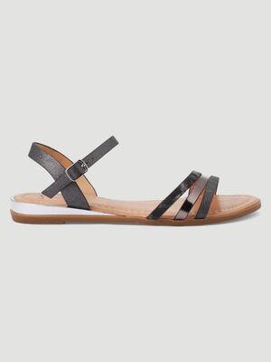 Sandales plates brides multi texturees noir femme