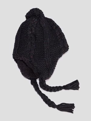 Bonnet peruvien noir fille