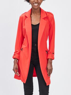 Veste droite fluide ceinturee rouge femme