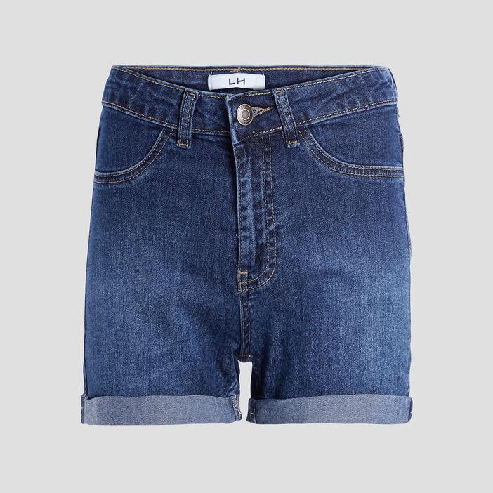 Short slim en jean femme denim brut