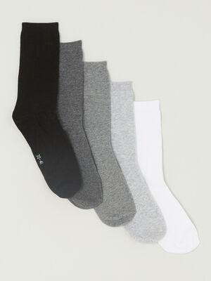 Lot 5 paires chaussettes coton gris femme