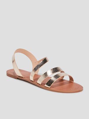 Sandales plates couleur or femme
