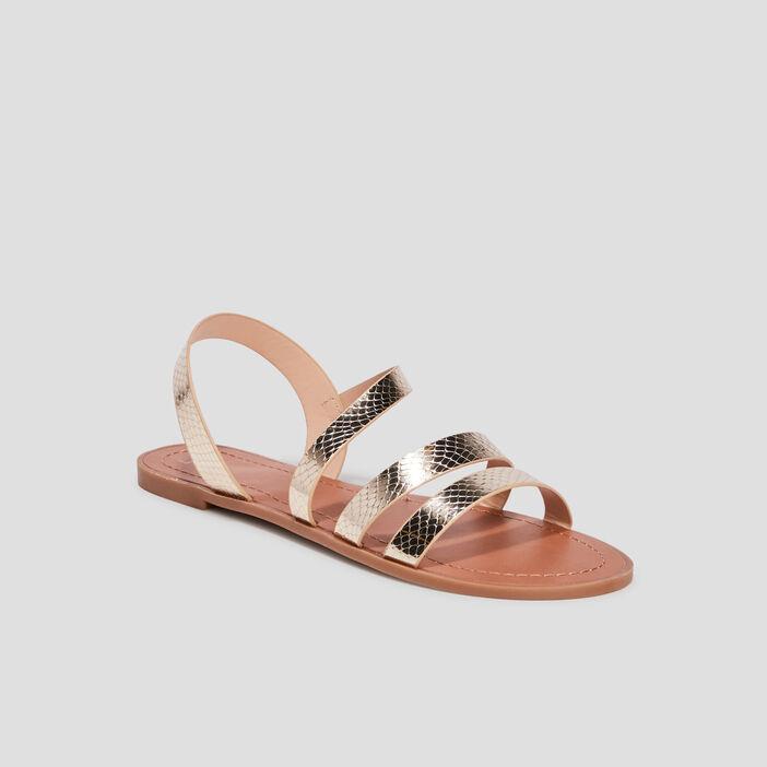 Sandales plates femme couleur or