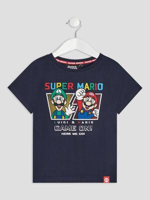 T shirt manches courtes Mario bleu marine garcon