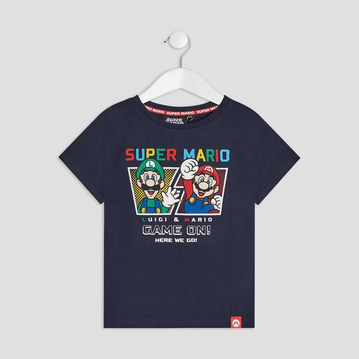 T-shirt manches courtes Mario garçon bleu marine