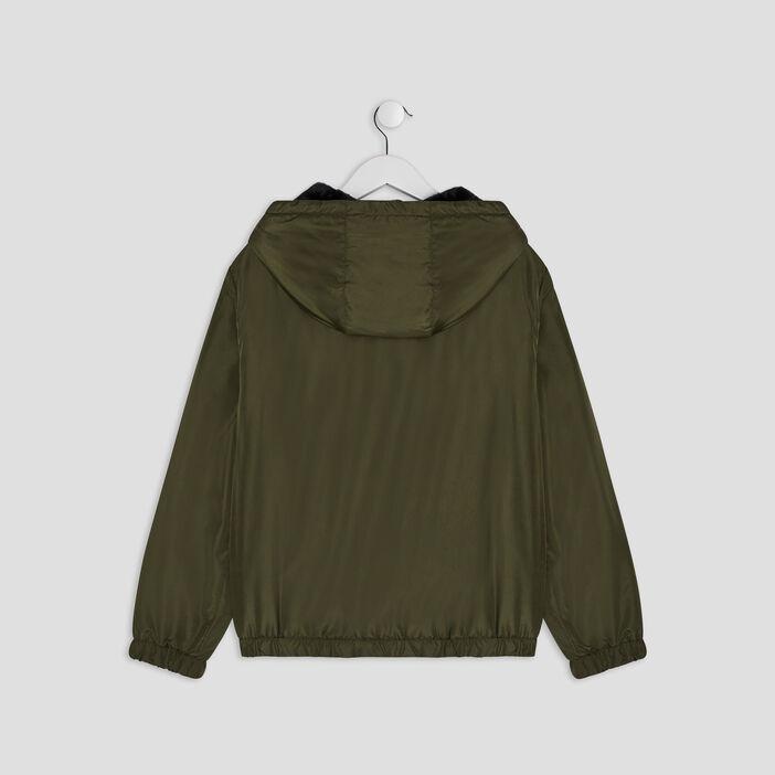 Veste droite à capuche fille vert kaki