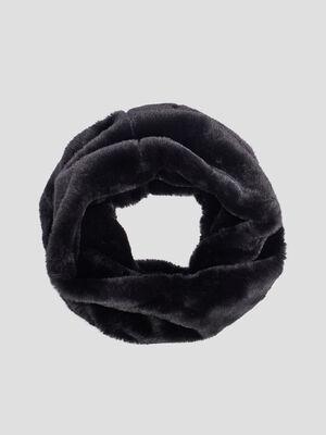 Tour de cou maille duveteuse noir femme