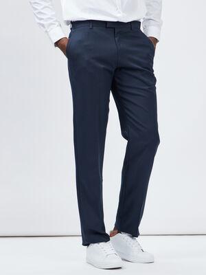 Pantalon droit avec pinces bleu marine homme
