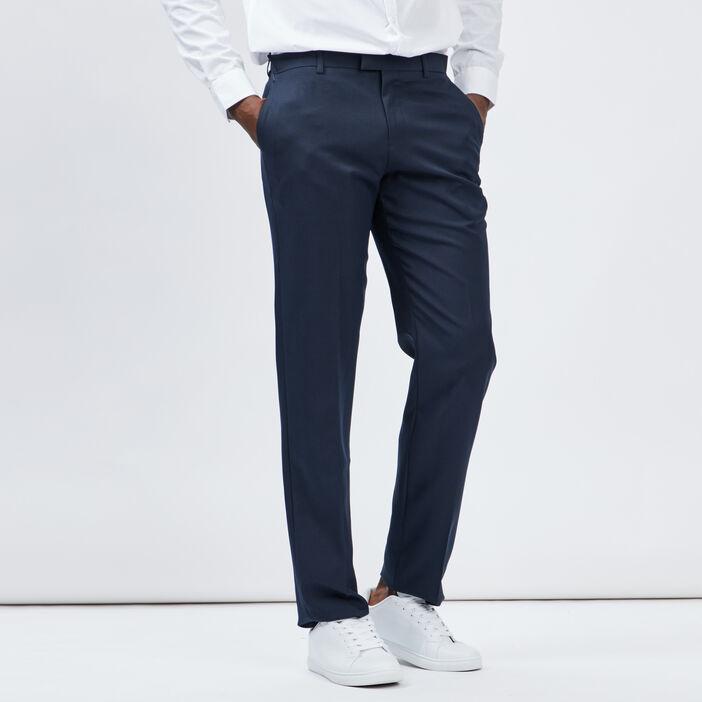 Pantalon droit avec pinces homme bleu marine