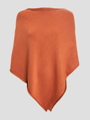 Poncho asymetrique orange fonce femme