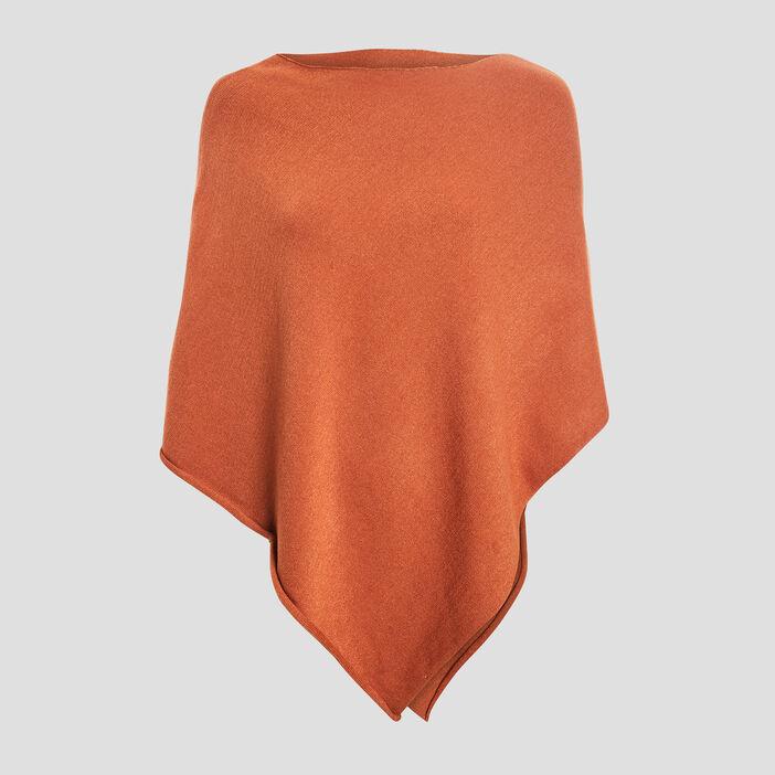 Poncho asymétrique femme orange foncé