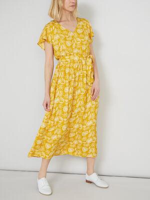Robe longue avec manches volantees jaune moutarde femme