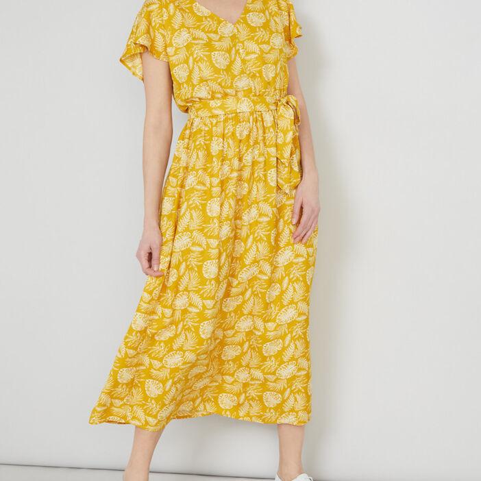 Robe longue avec manches volantées femme jaune moutarde