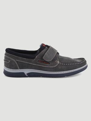 Chaussures bateau cuir nubuck sport gris homme