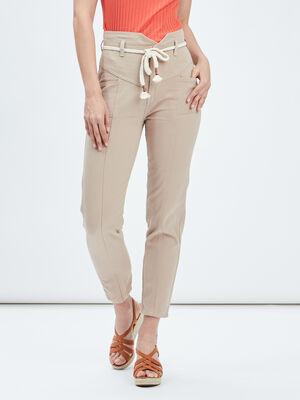 Pantalon cigarette ceinture beige femme