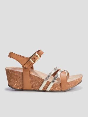 Sandales plateformes en cuir marron femme