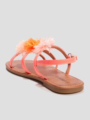 Sandales a froufrous Liberto orange corail fille