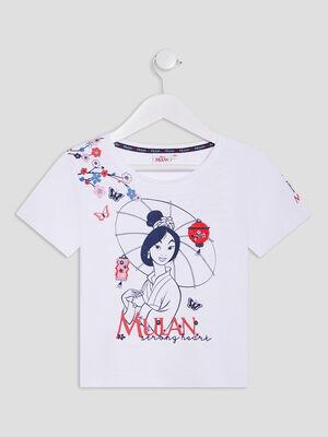 T shirt Mulan blanc fille